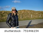 trendy woman wearing a leather... | Shutterstock . vector #751446154