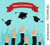 graduation party template with... | Shutterstock .eps vector #751449181