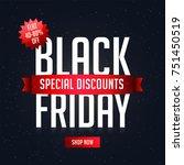 black friday sale  banner or... | Shutterstock .eps vector #751450519
