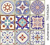 collection of 9 ceramic tiles... | Shutterstock .eps vector #751456264