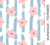 cute flowers on striped... | Shutterstock .eps vector #751456855
