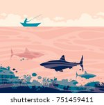 silhouette of fisherman in the... | Shutterstock .eps vector #751459411