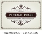 vintage frame with beautiful... | Shutterstock .eps vector #751461835