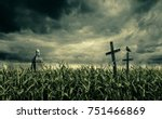 spooky cornfield at night. a...   Shutterstock . vector #751466869