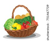 set of vegetable in basket...   Shutterstock .eps vector #751467739