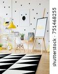 geometric carpet in scandi... | Shutterstock . vector #751468255