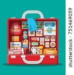 first aid kit with medical... | Shutterstock . vector #751469059