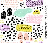 seamless pattern with ink hand... | Shutterstock .eps vector #751470097