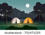 evening view of summer camp...   Shutterstock .eps vector #751471255