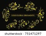 gold swirls ornament.floral...