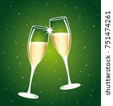 2018 champaign toast. two... | Shutterstock . vector #751474261