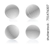 gray sphere with halftone fill... | Shutterstock . vector #751476307