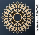 laser cutting mandala. golden... | Shutterstock .eps vector #751479421
