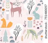 Stock vector seamless pattern with bunny squirrel deer creative woodland height detailed background perfect 751480057