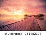 sunset on maldives island ... | Shutterstock . vector #751482379