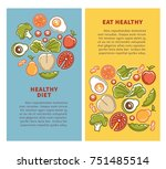 healthy food and diet nutrition ... | Shutterstock .eps vector #751485514