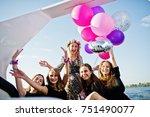 girls having fun at yacht on... | Shutterstock . vector #751490077
