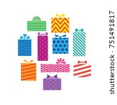 set of different gift boxes ... | Shutterstock .eps vector #751491817