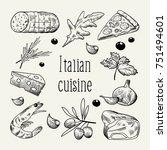italian cuisine sketch doodle....   Shutterstock .eps vector #751494601