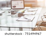 workplace with laptop and...   Shutterstock . vector #751494967