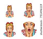 set of vector pop art round... | Shutterstock .eps vector #751496119