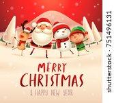 merry christmas  happy... | Shutterstock .eps vector #751496131
