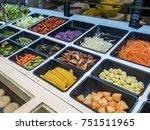 healthy buffet salad bar in... | Shutterstock . vector #751511965
