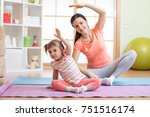 active mom and child daughter... | Shutterstock . vector #751516174