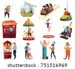 amusement park set with adult... | Shutterstock .eps vector #751516969