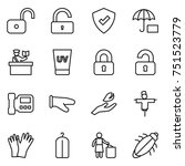 thin line icon set   unlock ... | Shutterstock .eps vector #751523779