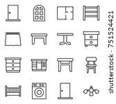 thin line icon set   door  arch ... | Shutterstock .eps vector #751524421