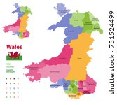 preserved counties of wales... | Shutterstock .eps vector #751524499