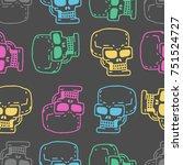 Skull Cartoon Seamless Pattern. ...