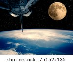 spacecraft  earth and moon. the ...   Shutterstock . vector #751525135