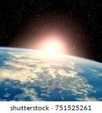 epic sunrise from space. the... | Shutterstock . vector #751525261