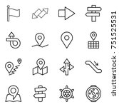 thin line icon set   flag  up... | Shutterstock .eps vector #751525531