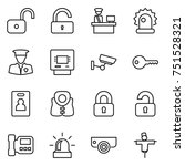 thin line icon set   unlock ... | Shutterstock .eps vector #751528321