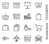 thin line icon set   shop ... | Shutterstock .eps vector #751528345