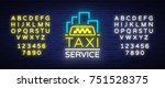 vector neon taxi logo isolated...   Shutterstock .eps vector #751528375