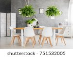white chairs at dining table in ... | Shutterstock . vector #751532005