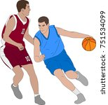 basketball players illustration ... | Shutterstock .eps vector #751534099