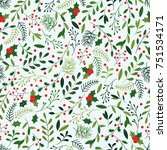 seamless christmas pattern with ... | Shutterstock .eps vector #751534171