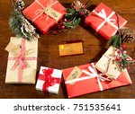 christmas decorations and gift... | Shutterstock . vector #751535641