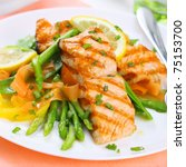 grilled salmon with asparagus... | Shutterstock . vector #75153700