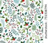 seamless christmas pattern with ... | Shutterstock .eps vector #751538794