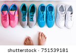 a sporty girl in jeans chooses... | Shutterstock . vector #751539181