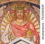 Small photo of LONDON, GREAT BRITAIN - SEPTEMBER 19, 2017: The mosaic of Jesus the King in church St Stephen's Rochester Row by Angela Tennant (1904).