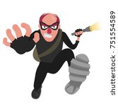 a balding thief in a mask runs... | Shutterstock .eps vector #751554589