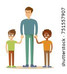 3 brothers isolated on white.... | Shutterstock .eps vector #751557907