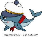 cute whale with sailor hat  | Shutterstock .eps vector #751565389